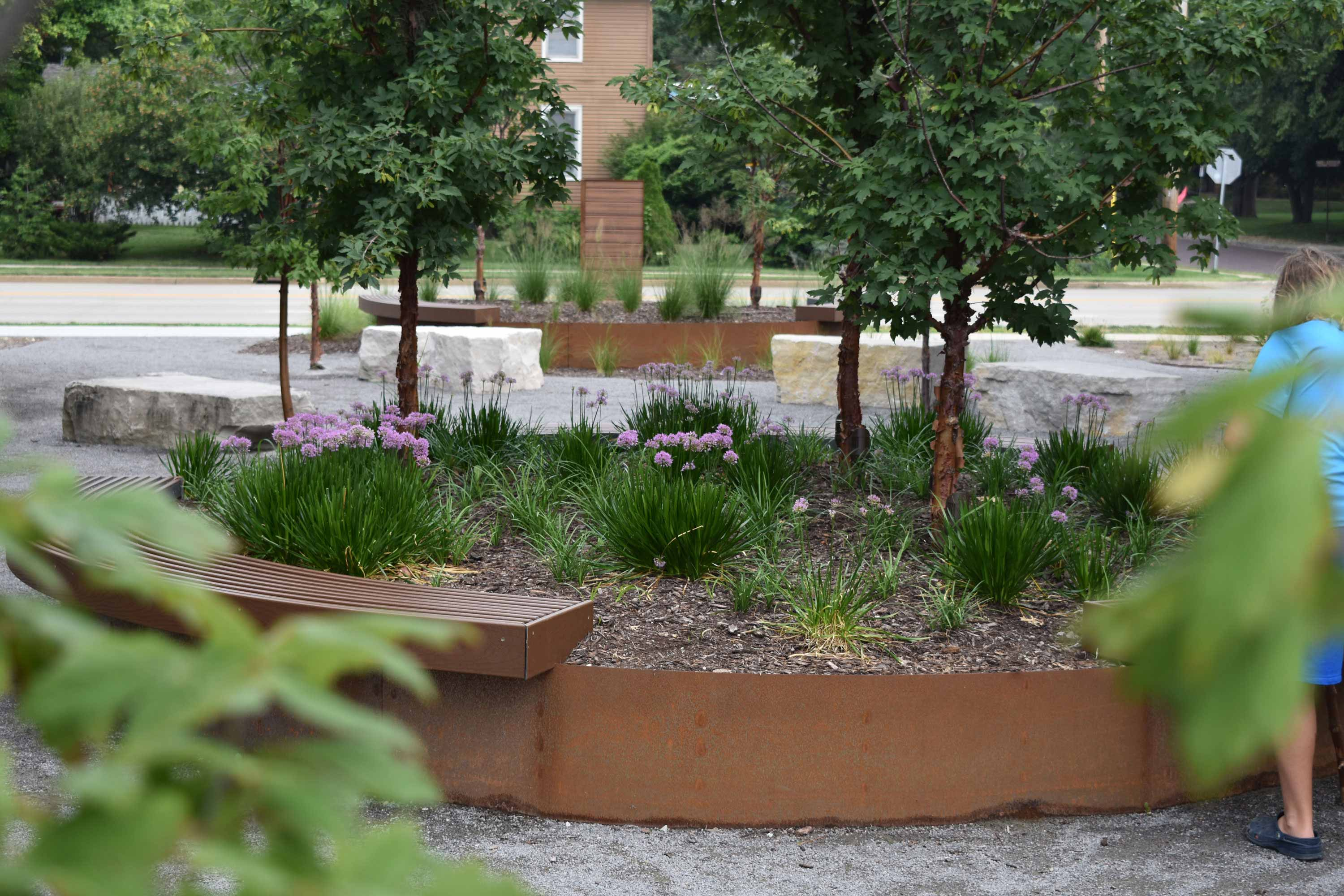 Corten steel planters placed around the site of The Foundry in Bloomington IL